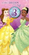 Age 3 Disney Princess Birthday Card with Badge